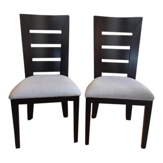 Contemporary Bermex Coffee Wood Dining Chairs - a Pair For Sale
