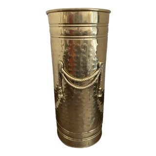 1980s Victorian Solid Embossed Brass Large Umbrella Stand For Sale