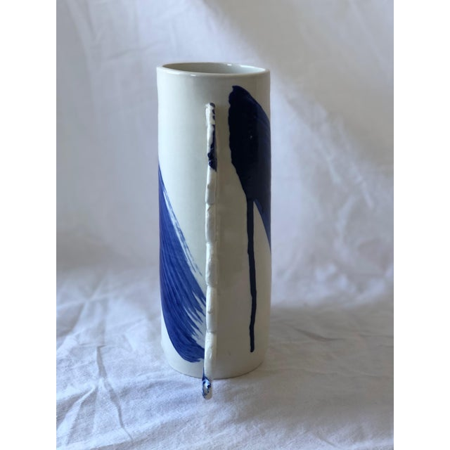 Contemporary Ceramic Squiggle Handle Vessel With Cobalt Calligraphy For Sale - Image 4 of 6