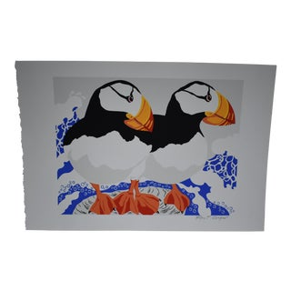 Late 20th Century Vintage Ann T. Cooper Puffins Lithograph Print For Sale