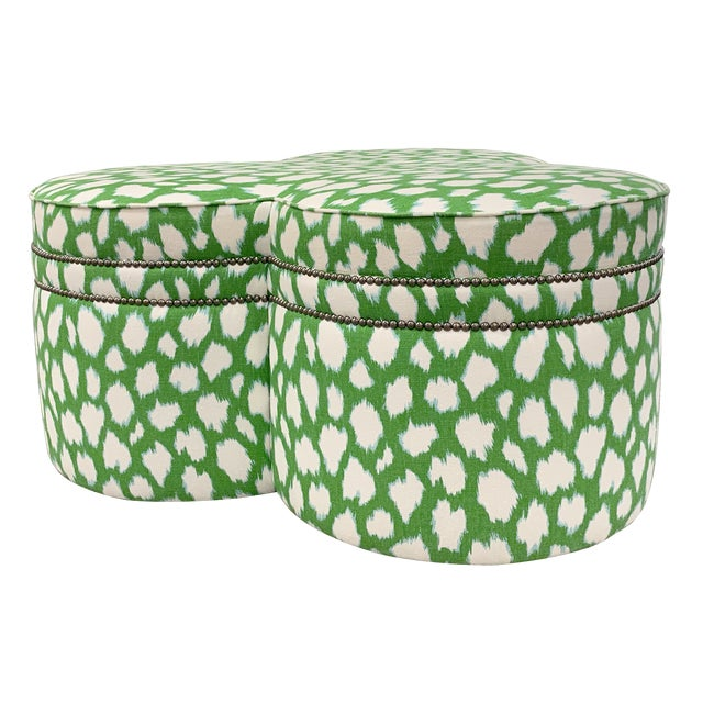 Contemporary Large Cloverleaf-Shaped Ottoman Upholstered in Kate Spade Fabric For Sale - Image 9 of 9
