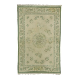 Distressed Vintage Indian Rug With Chinoiserie Shabby Chic Style - 03'11 X 06'00 For Sale