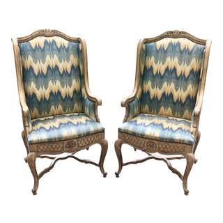 1970s Vintage Auffray Bergere Style Chairs- A Pair For Sale