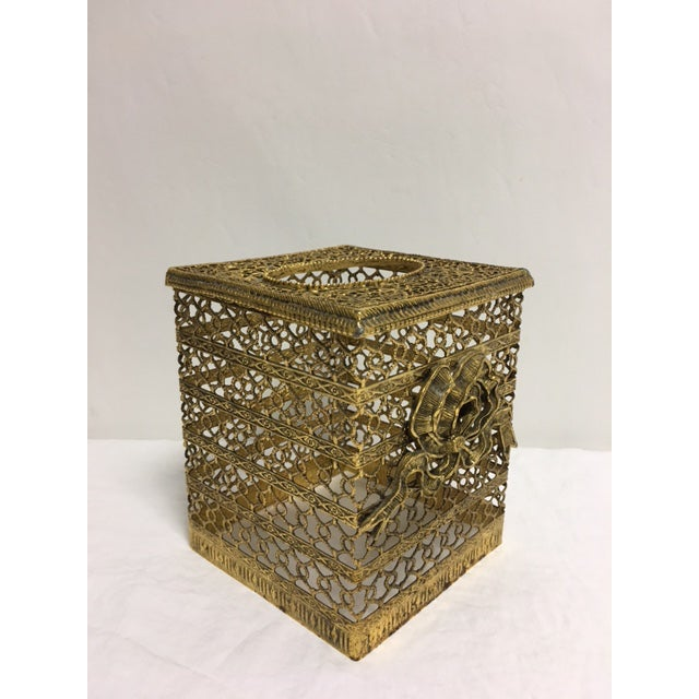 Hollywood Regency Goldtone Kleenex Box - Image 4 of 7