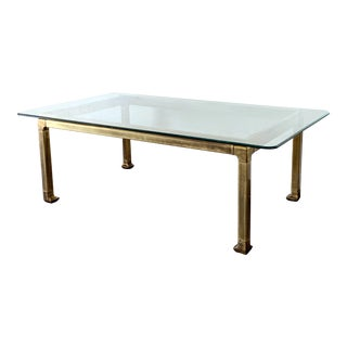 Mastercraft Patinated Brass and Glass Chinoiserie Dining Table For Sale
