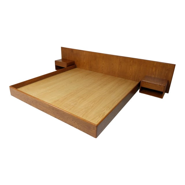 Hand Crafted Mid-Century Danish Inspired Floating Platform Bed & Nightstands - King For Sale