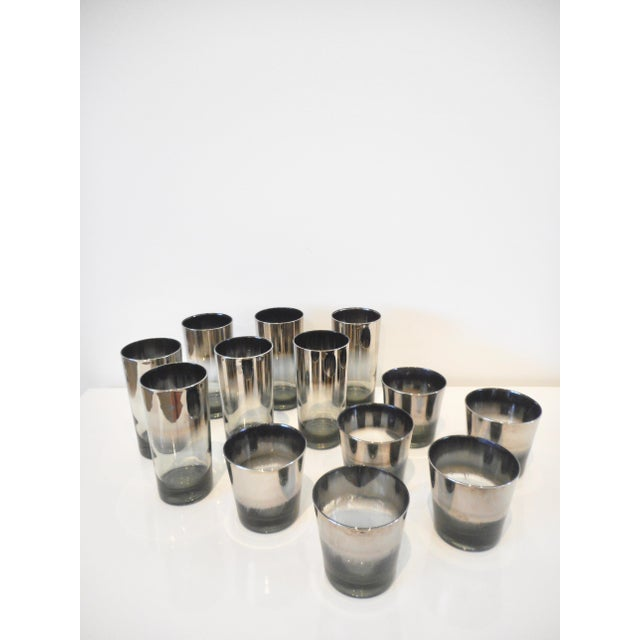 1960s Vintage Dorothy Thorpe Style Silver Metallic Cocktail Glasses - 13 Piece Set For Sale - Image 5 of 5