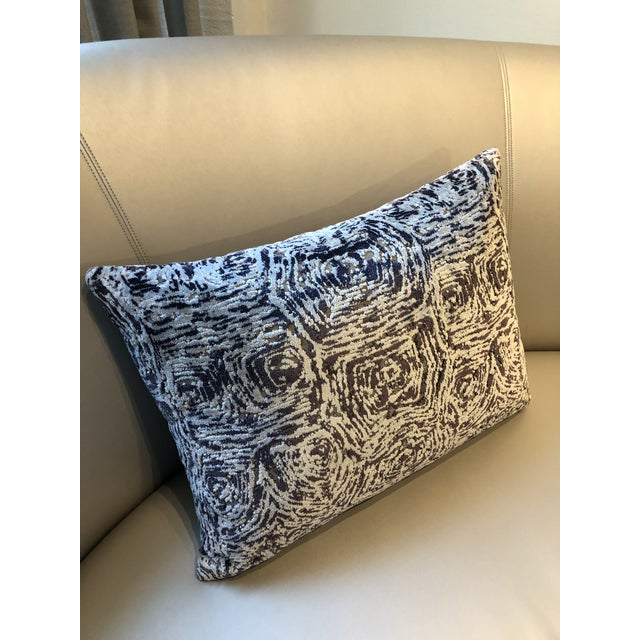 """Custom pillows used in a show house. 22""""W x 16""""H. Fabric: Stroheim Pattern: Thyme Color: Sugar Plum Down Alternative Fill..."""