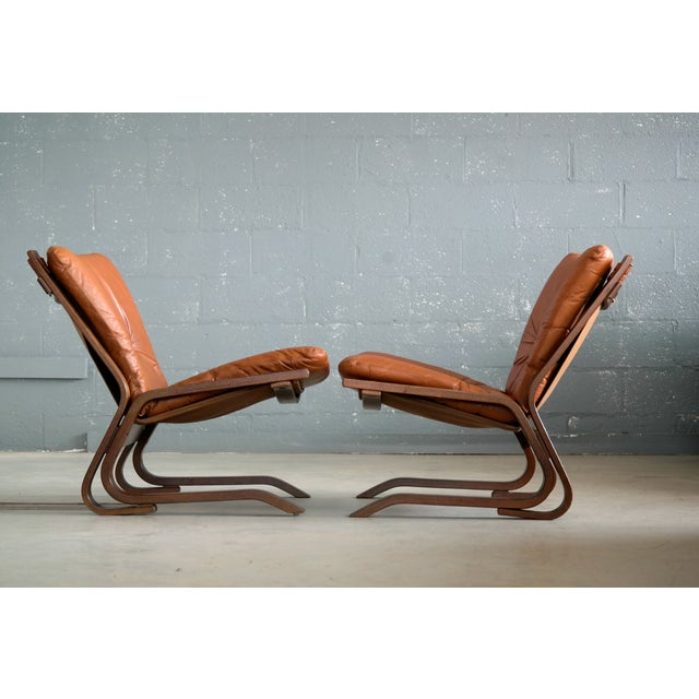 Brown Pair of Mid-Century Norwegian Easy Chairs in Cognac Leather by Oddvin Rykken For Sale - Image 8 of 10