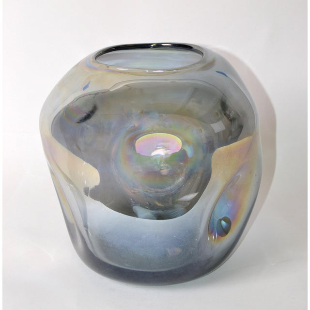 Blown Smoked Glass Vase Mid-Century Modern With Mirror Coating & Round Indents For Sale - Image 4 of 13