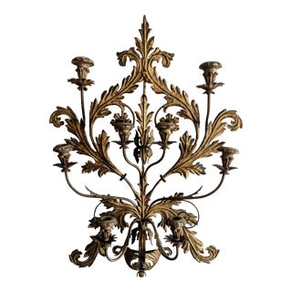 Antique Italian Tole Gilt Wall Candelabra For Sale