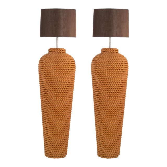 Pair of Monumental Wrapped Rope Floor Lamps For Sale