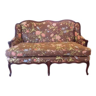 Floral Print French Country Style Settee For Sale