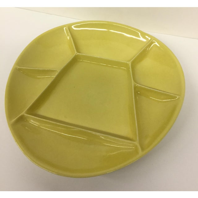 Mid-Century Modern Mid-Century Modern Green Divided Plate For Sale - Image 3 of 8
