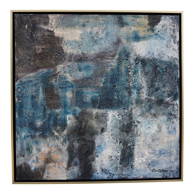 """""""Night Walk"""" Contemporary Abstract Acrylic Painting by Laurie MacMillan, Framed For Sale"""