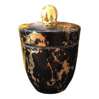 Vintage Black and Gold, Hand-Decorated Canister