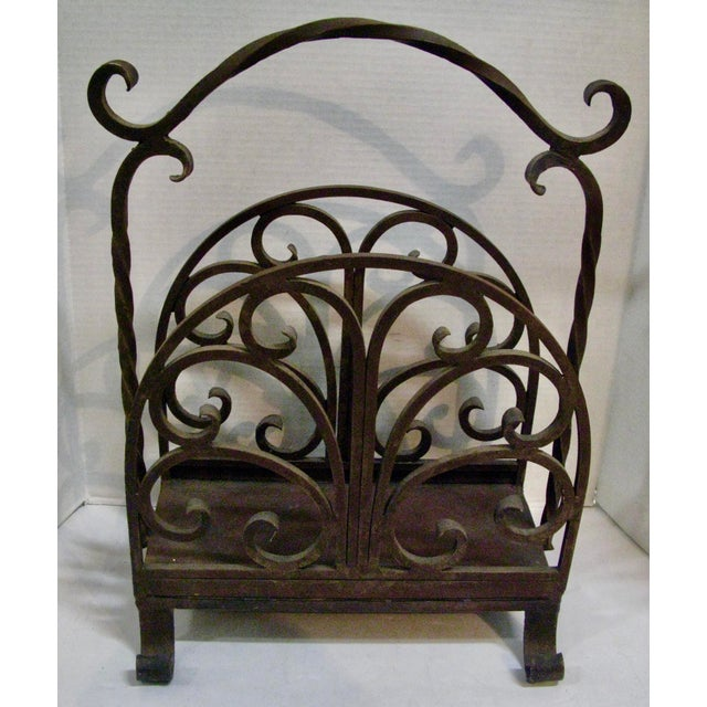 Old Heavy Cast Iron Wood/Magazine Rack. Wonderful original patina and very sturdy rack. could be used for logs or magazines.