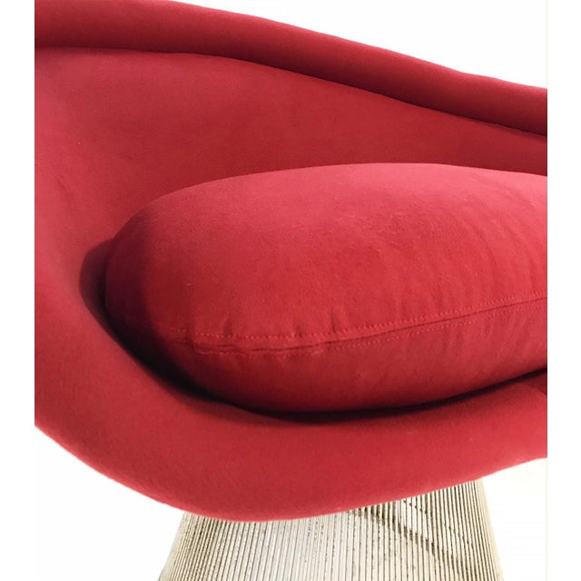 Red Warren Platner for Knoll Lounge Chairs Restored in Loro Piana Red Cashmere - Pair For Sale - Image 8 of 13