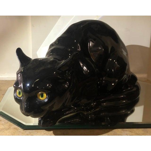 Wiener Werkstätte Rare Antique Wiener Kunst Keramische Werkstatte Austria Ceramic Black Cat W Glass Eyes For Sale - Image 4 of 8