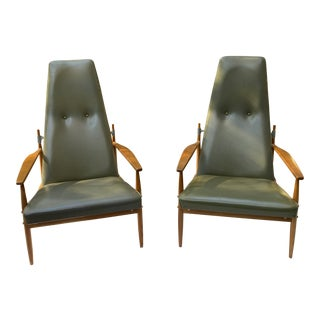 Mid-Century Modern Peter Hvidt Leather Chairs - a Pair For Sale