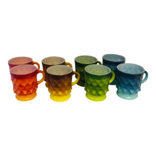1960s Fire King Multi Color Milk Glass Mugs - Set of 8 For Sale