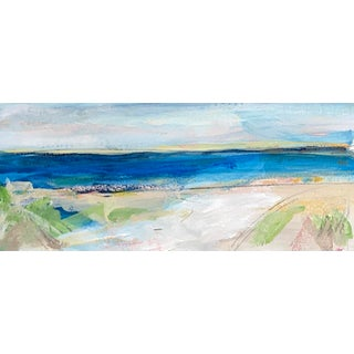 """""""Seascape V"""" Contemporary Abstract Coastal Landscape Watercolor Painting 11 X 4.5"""" For Sale"""