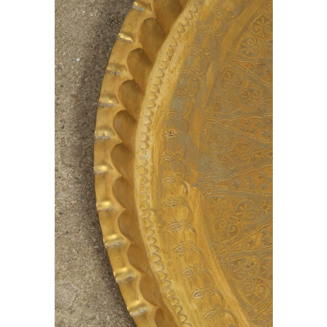Large Syrian Hand-Hammered Brass Tray For Sale - Image 4 of 10