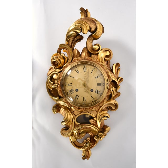 Vintage giltwood framed Swedish hanging wall cartel clock. This clock is just beautiful and in excellent vintage working...