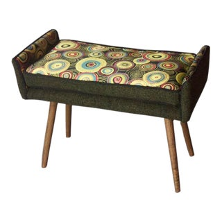 Mid-Century Inspired Vanity-Sized Stool, Sunbursts With Forest Green For Sale