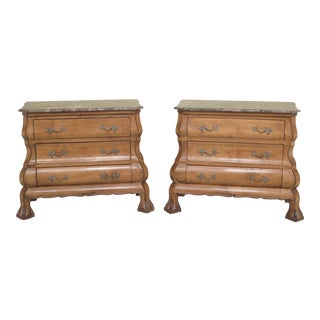 1990s Traditional Bombe Base Marble Top Claw Foot Commode Chests - a Pair For Sale