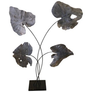 1960s Vintage Asian Teak Wood and Black Iron Standing Plant Sculpture For Sale