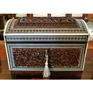 19c Anglo Indian Heavily Carved Padouk and Sadeli Double Caddy Preview
