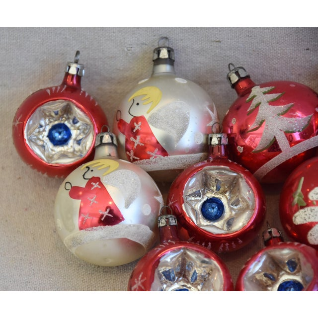 Cardboard Vintage Colorful Christmas Ornaments W/Box - Set of 12 For Sale - Image 7 of 10