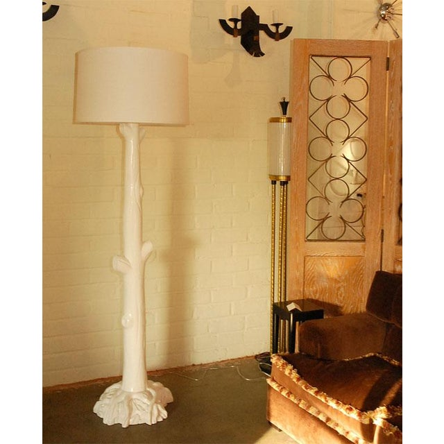 White Tall Tree Trunk Lacquered Floor Lamp For Sale - Image 8 of 11