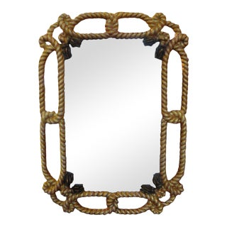 1960's Vintage Italian Fournier Inspired Gilt Wood Rope and Tassel Mirror For Sale