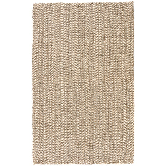 Jaipur Living Alix Natural Chevron Taupe/ White Area Rug - 10′ × 14′ For Sale