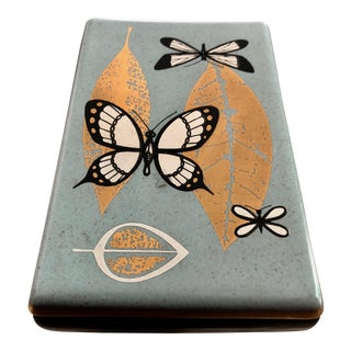 Mid-Century Modern Blue and Black Gold Gilt Leaf Accent and Butterfly Graphics Porcelain Lidded Box
