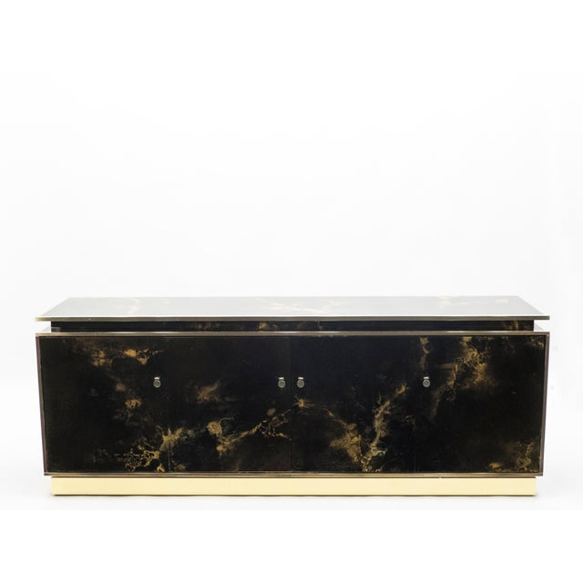 Rare Golden Lacquer and Brass Maison Jansen Sideboard 1970s For Sale - Image 13 of 13
