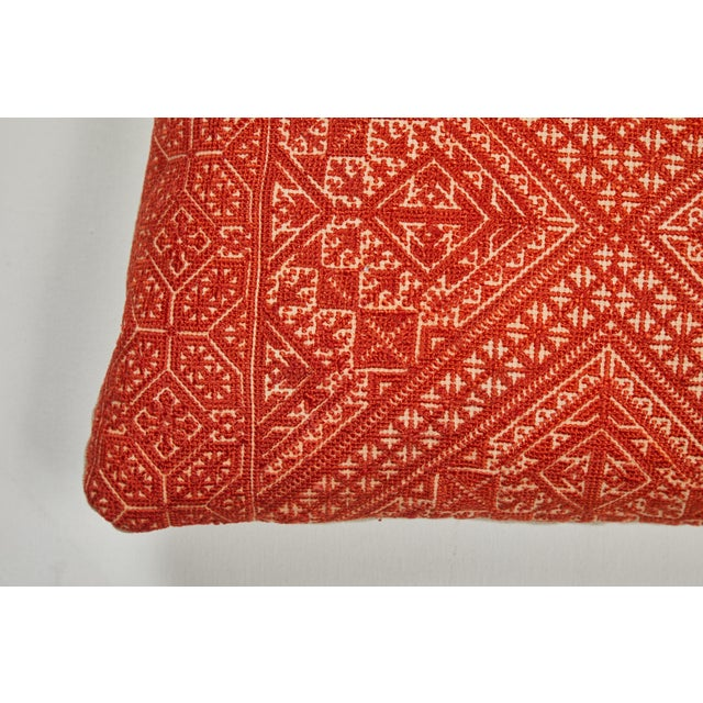 Antique Moroccan textiles from the city of Fez. Intricate all-over silk floss on linen embroidery produces a durable...