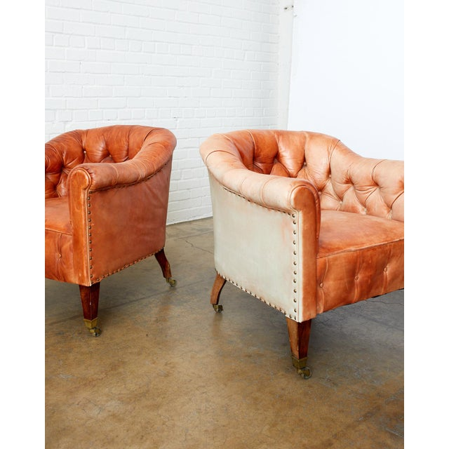 Pair of English Tufted Leather Chesterfield Club Chairs For Sale - Image 10 of 13