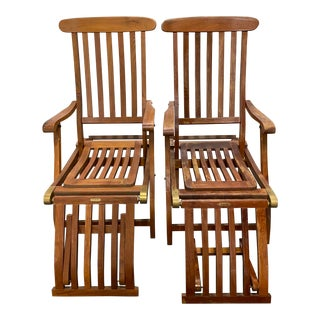 """Pair of Vintage """"S S New Amsterdam"""" 1st Class Reclining Teak Deck Chairs C.1940 For Sale"""