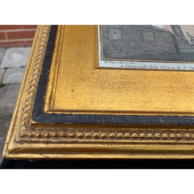 Blue Early 20th Century Antique Porta S. Spirito Framed Hand-Colored Engraving For Sale - Image 8 of 10