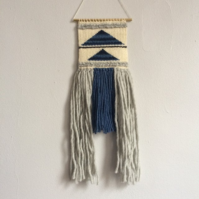 Mini Woven Wall Hanging Blue Geometric Triangle - Image 2 of 4