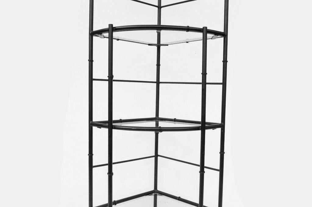 Beau Late 20th Century Hollywood Regency Metal Faux Bamboo Corner Stand Bakers  Rack Kitchen Etagere For Sale