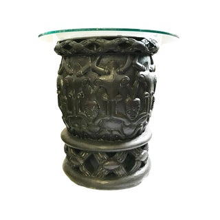 "African Bamileke Side Table W /Glass Top Cameroon 26"" D by 25.5"" H For Sale"