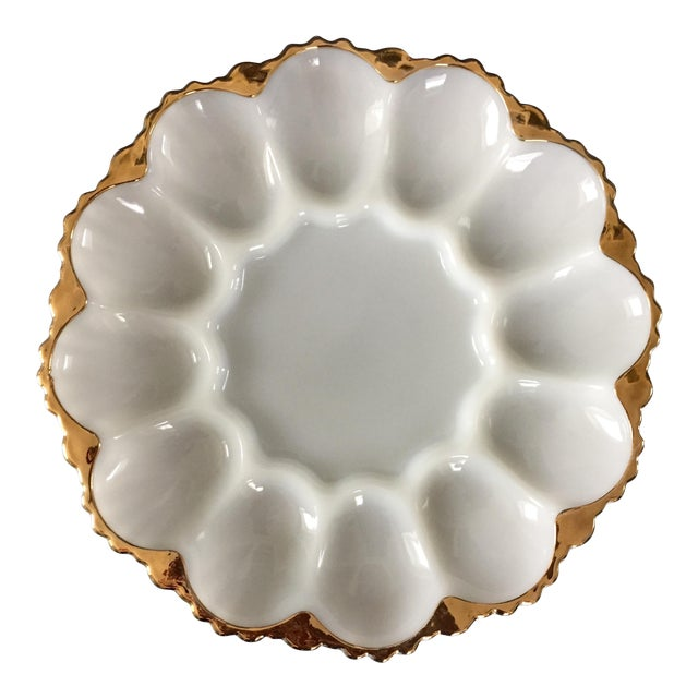 Vintage Milk Glass Deviled Egg Plate For Sale