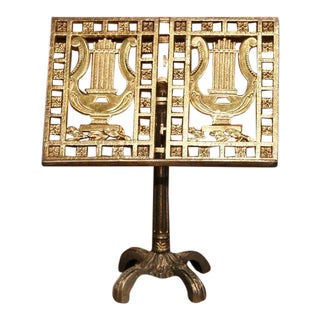 Early 20th Century French Patinated Brass Table Music Stand With Lyre Motif