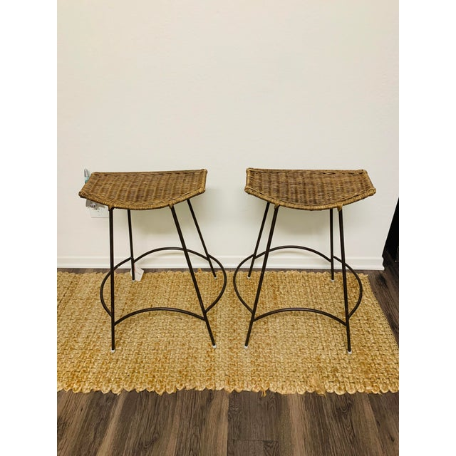 Mid-Century Modern Wrought Iron and Wicker Bar Stools by Arthur Umanoff - a Pair For Sale - Image 9 of 9