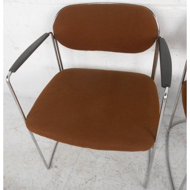 Mid-Century Chrome & Upholstery Office Armchairs - Set of 7 - Image 8 of 10