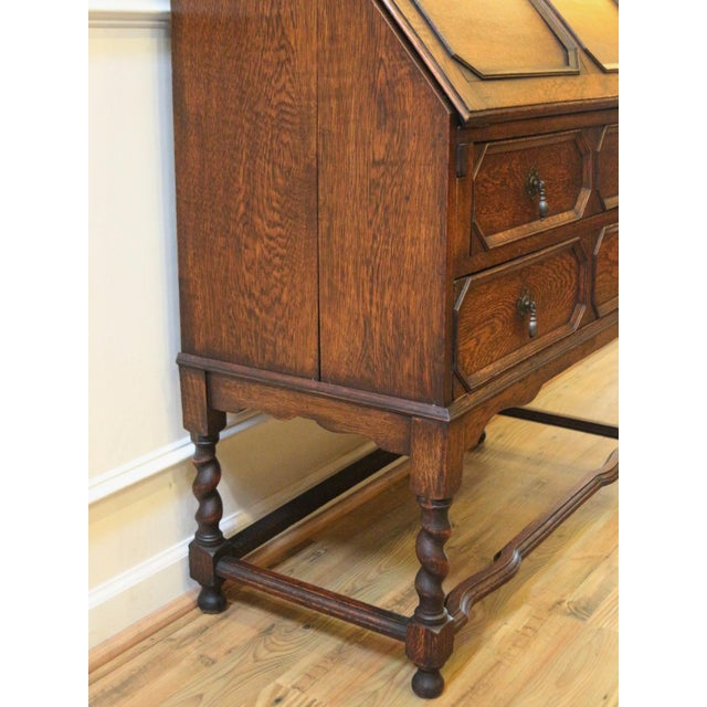 Brown 1910s Jacobean Oak Bureau Bookcase For Sale - Image 8 of 13